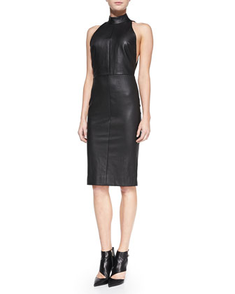 Fitted Leather Halter Dress with Open Back