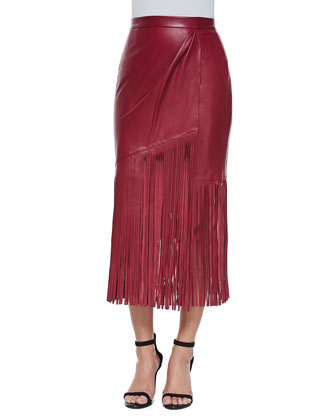 Leather Skirt with Long Fringe, Red