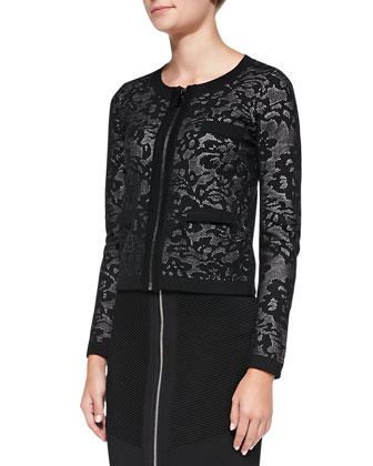 Zip-Front Lace Jacquard Jacket