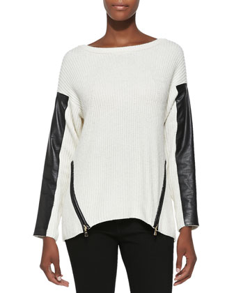 Ribbed Leather-Sleeve Pullover Sweater