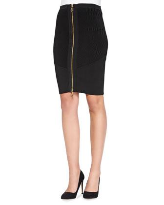 Stretch Zip Pencil Skirt