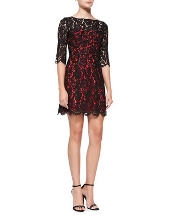 Ally Floral Lace Cocktail Dress, Black/Red