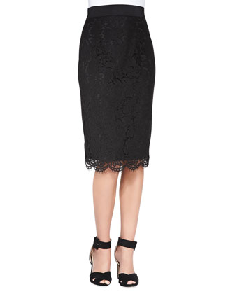 Long Floral-Lace Pencil Skirt