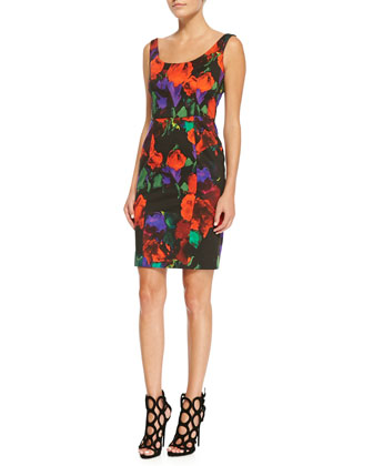 Sophia Floral-Print Sleeveless Sheath Dress