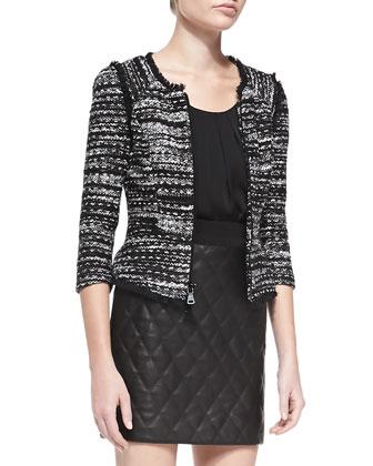 Tweed Zip-Front Jacket with Fringe Trim
