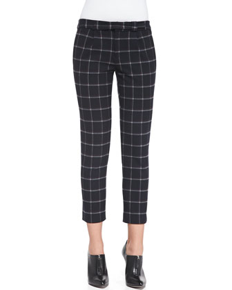 Cropped Plaid Crepe Slim Pants