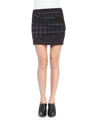 Plaid Crepe Folded Miniskirt