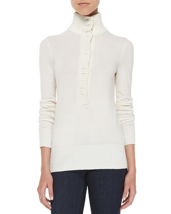 Giselle Button-Down Mock-Neck Sweater
