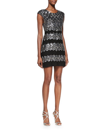Gina Embellished Metallic Fitted Dress