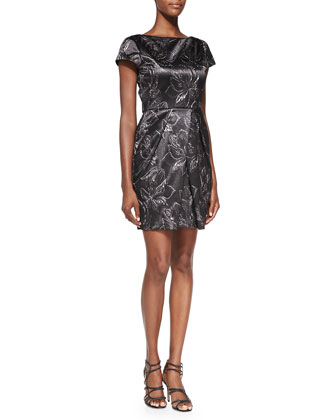 Trudy Printed Metallic Pleated Dress