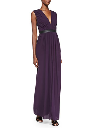 Denise Leather-Waist Jersey Maxi Dress
