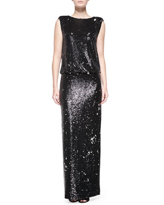 Collett Sequined Blouson-Bodice Gown