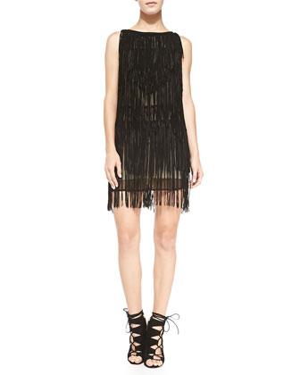 Layered Fringe Suede Dress