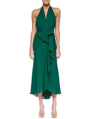 Tie-Waist Silk Halter Gown