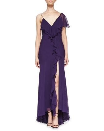 Single-Sleeve Ruffled Silk Gown