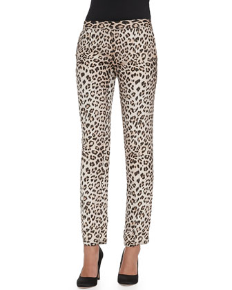 Silk Leopard-Print Trousers