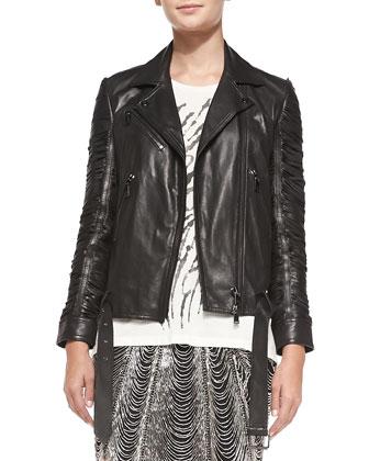 Slash-Sleeve Leather Moto Jacket