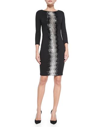 Center-Embellished Jersey Dress
