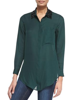 Long-Sleeve Blouse W/ Beaded Collar