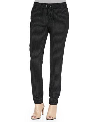 Kate Slim Pinstriped Pants W/ Drawstring