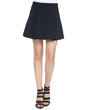 Rhodes Box-Pleated Scuba Mini Skirt