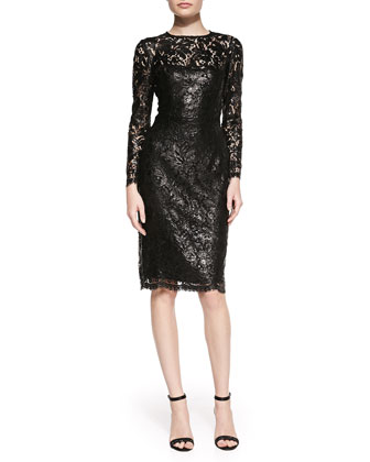 Lace Overlay Slim Cocktail Dress