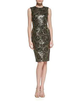Sequined Mosaic Cocktail Sheath Dress