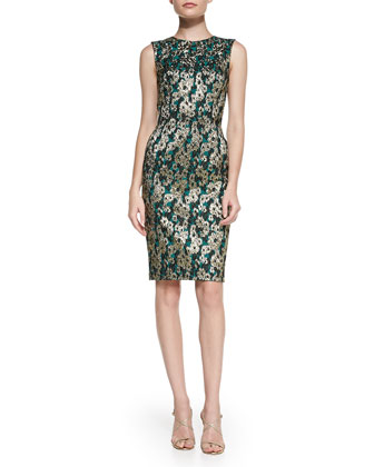 Sleeveless Brocade Sheath Dress
