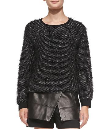 Fuzzy Tweed Sweatshirt