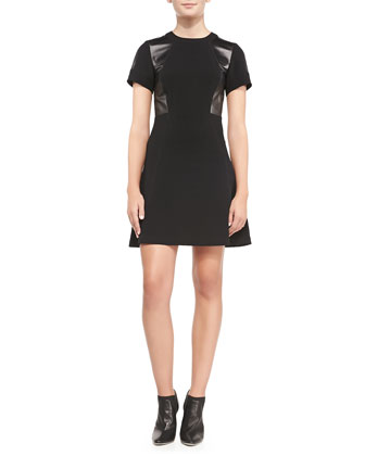Leather-Panel Ponte A-Line Dress