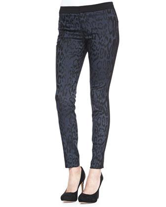 Leopard-Print Brocade Pants