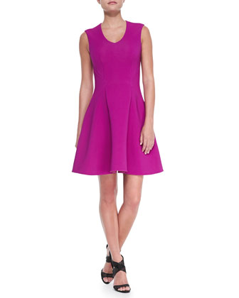 Stretch Ottoman Knit Fit-and-Flare Dress