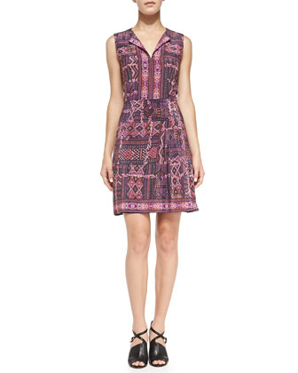 Sleeveless Carpet-Print Dress