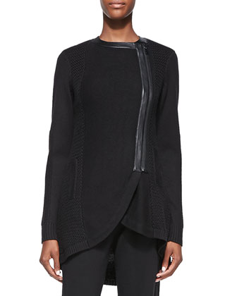 Long Leather-Trim Sweater Jacket, Black