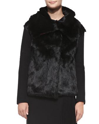 Fur & Ribbed-Knit Jacket