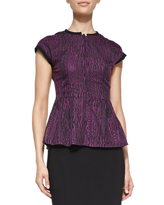 Solid-Trim Flared Jacquard Top