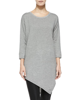Tammy Asymmetric-Hem Sweater, Heather Gray