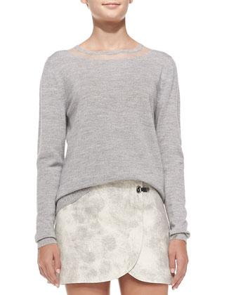 Fine-Gauge Crewneck Pullover Sweater