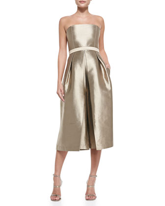 Halcyon Strapless Cropped Taffeta Jumpsuit