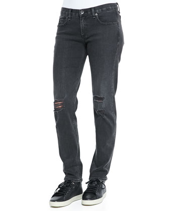 Boyfriend Low-Rise Distressed Jeans, Rock