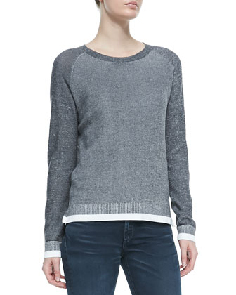 Brenda Combo-Knit Crewneck Sweater