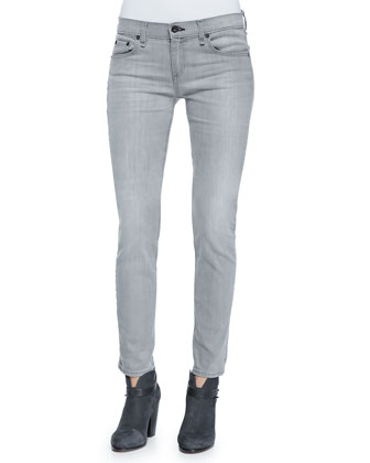Dre Mid-Rise Skinny Jeans, Aged Gray