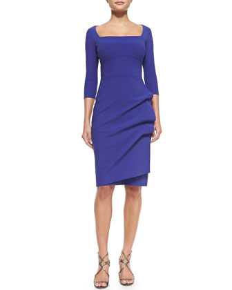 Amy 3/4-Sleeve Sheath Dress, Purple
