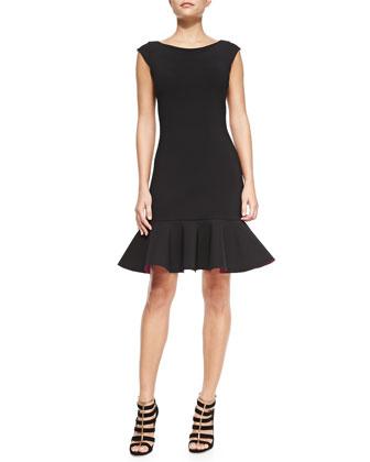 Loredana Cap-Sleeve Dress W/ Bicolor Flounce