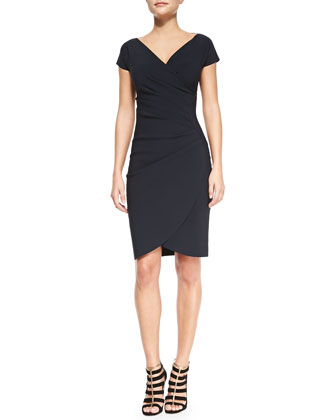Emerentienne Faux-Wrap Jersey Cocktail Dress, Navy