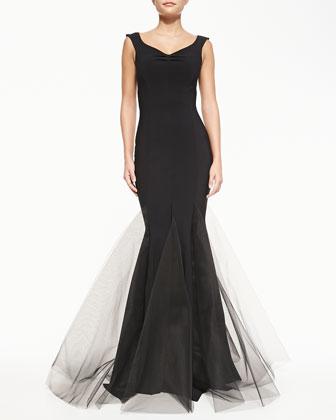 Diva V-Neck Gown with Tulle Hem