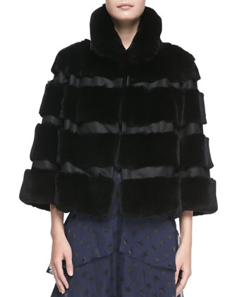 Loretta Cropped Banded Fur Jacket