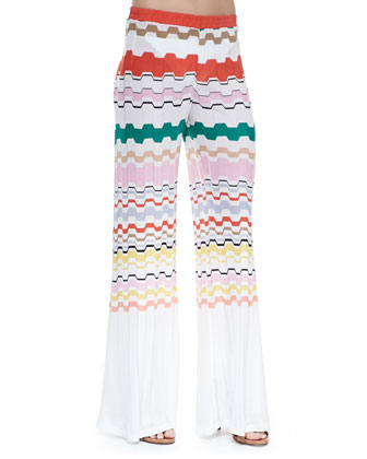 Wavy-Pattern Pull-On Pants
