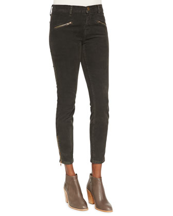 The Soho Zip Stiletto Twill Pants, Gunmetal