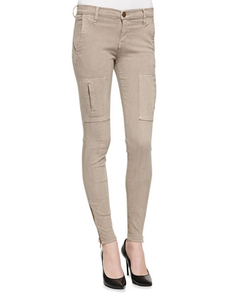 Skinny Zipper-Cuff Cargo Pants, Dark Fawn